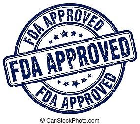 fda approved blue grunge round vintage rubber stamp