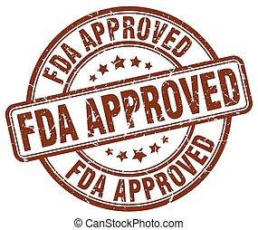fda approved brown grunge round vintage rubber stamp