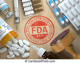 FDA approved concept. Rubber stamp with FDA and medicine. 3d illustration