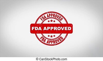 Fda Approved Signed Stamping Text Wooden Stamp Animation. Red Ink on Clean White Paper Surface Background with Green matte Background Included.