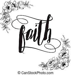 fe, caligrafía, tipografía, tarjeta