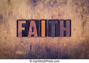 fe, concepto, de madera, texto impreso, tipo