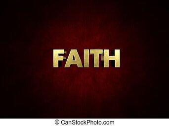 fe, concepto, metal, prensade copiar, palabra, en, fondo rojo