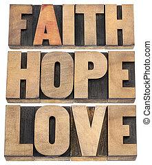 fe, esperanza, y, amor, tipografía