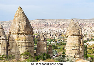 fe, lampglas, rockar, in, gammal, mountains, av, goreme