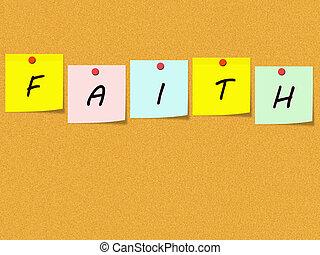 fe, notas pegajosas, en, corkboard