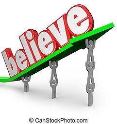 fe, palabra, creencia, flecha, equipo, creer, elevación, uplifted