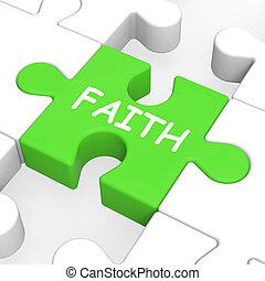 fe, rompecabezas, actuación, espiritual, creencia, o,...