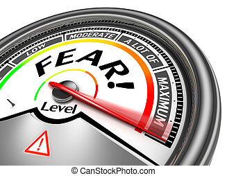 fear conceptual meter indicate maximum, isolated on white...