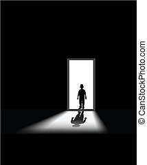 fear in dark - kid enters a dark room, to illustrate concept...
