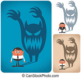 Fear - Man haunted by his shadow. The illustration is in 3 ...