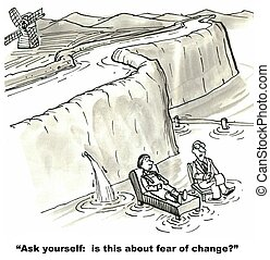 Fear of Change - Cartoon of Dutch boy meeting with therapist...