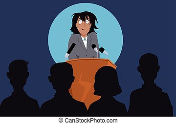 Fear of public speaking - Terrified female speaker on a...