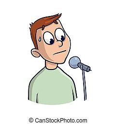 Fear of public speaking, glossophobia. Excitement and loss of voice. Man with microphone. Vector illustration, isolated on white background.