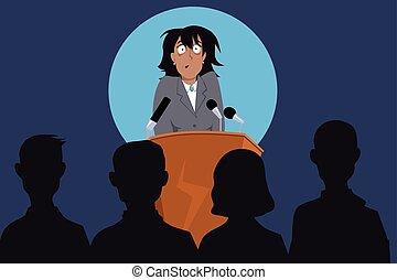 Fear of public speaking - Terrified female speaker on a ...