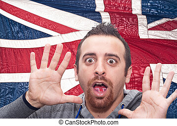 fear of the English language? - man with open mouth...
