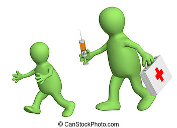 Child, escaping from the doctor with a syringe