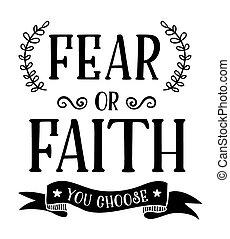 Fear or Faith You Choose typography art Motivational Faith...