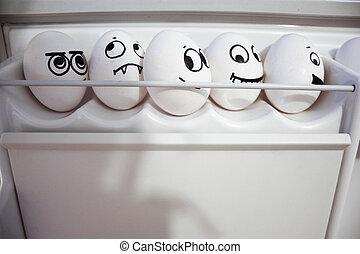 fear., ovos, conceito, cinco, grande