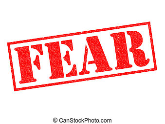 FEAR Rubber Stamp - FEAR red Rubber Stamp over a white...