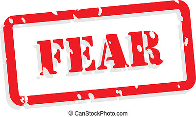 Fear red rubber stamp vector for mental health concept