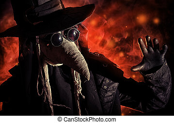 fear simbol - Terrible plague doctor. Medieval Europe....