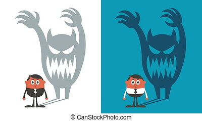 Fear - Animation of man haunted by his shadow in 2 color...