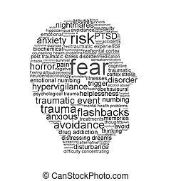 Fear symbol isolated on white background. Psychological symbol conceptual design