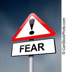 Illustration depicting a red and white triangular warning sign with a fear concept. Blurred dark sky background.