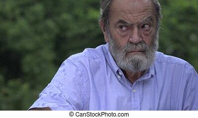 Fearful Bearded Hispanic Senior Old Man And Alzheimers