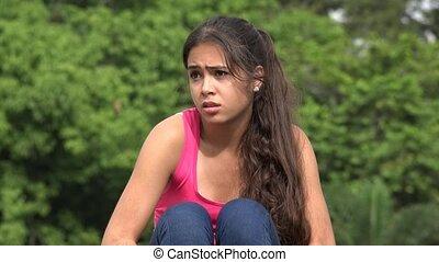 Fearful Hispanic Female Teen