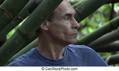 Fearful Man Lost in Jungle