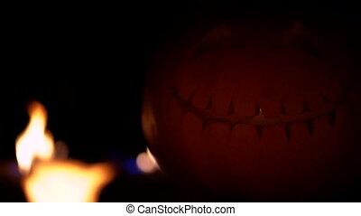 Fearful symbol of Halloween - Jack-o-lantern. Scary smiling...