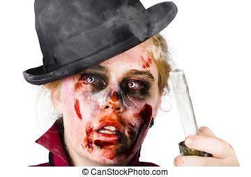 Fearful zombie woman holding blown out candle