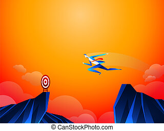 Fearless brave businessman make risk by jump over the ravine, cliff, chasm to reach his success target challenge of his career