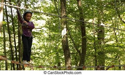 Fearless girl - The little girl bravely moving forward on...