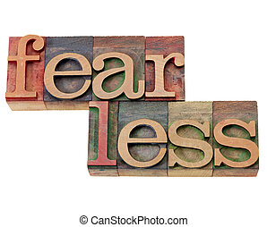 fearless - isolated word in vintage wood letterpress printing block