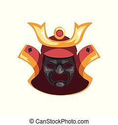 Fearsome ancient Samurai warrior war mask vector...