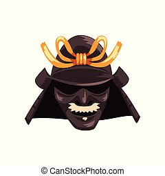 Fearsome Japanese Samurai warrior war mask vector...