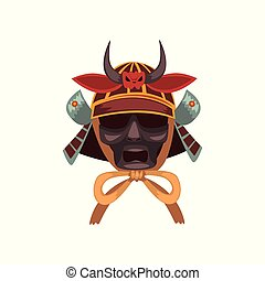 Fearsome Samurai warrior war mask vector Illustration on a...
