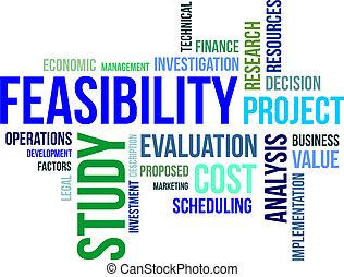 feasibility, słowo, etiuda, -, chmura