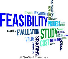 feasibility, wort, studieren, -, wolke