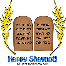 Feast of Shavuot. Inscription Happy Shavuot. Hebrew. Wheat, barley, The scrolls of the Torah, the Tablet of the Bible, the Ten Commandments. Vector