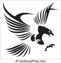 feathe, ワシ, 飛行, 広がり, ∥そ∥, から
