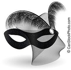 feathe, noir, half-mask, carnaval
