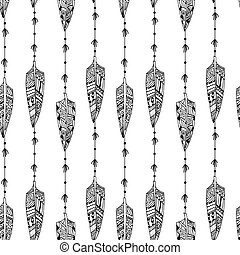 feathe, seamless, textura, pretas, ornamentos, pássaro branco