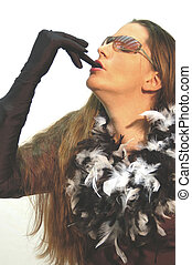 Feather and Glove 4783 - woman in feathers and gloves