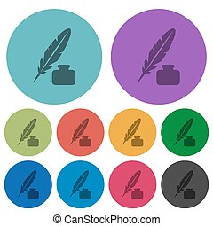 Feather and ink bottle color darker flat icons