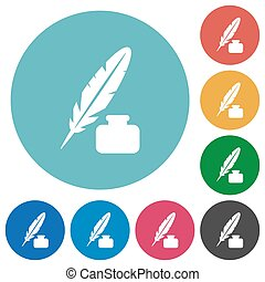 Feather and ink bottle flat round icons