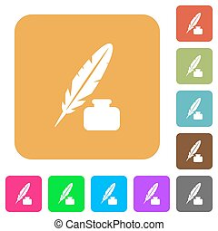 Feather and ink bottle rounded square flat icons